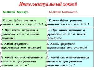 Интеллектуальный хоккей Каково будет решение уравнения cos x = a при  а  >