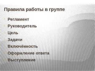 Правила работы в группе Регламент Руководитель Цель Задачи Включённость Оформ