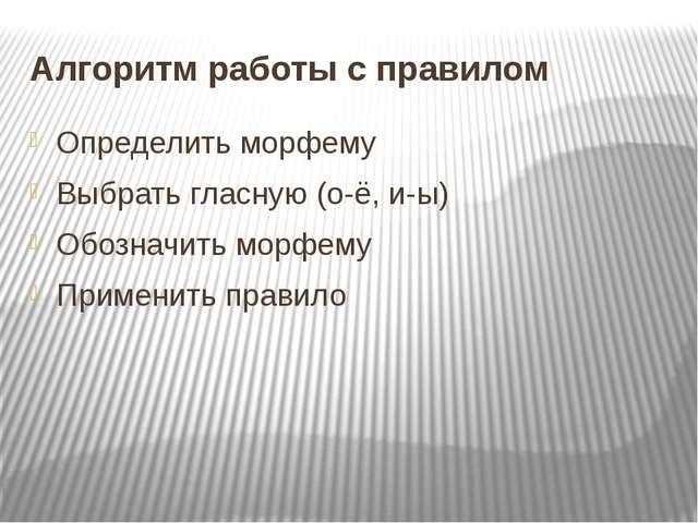 Алгоритм работы с правилом Определить морфему Выбрать гласную (о-ё, и-ы) Обоз...