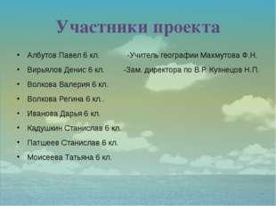 Участники проекта Албутов Павел 6 кл. -Учитель географии Махмутова Ф.Н. Вирья