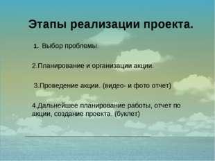 1. Выбор проблемы. 2.Планирование и организации акции. 3.Проведение акции. (