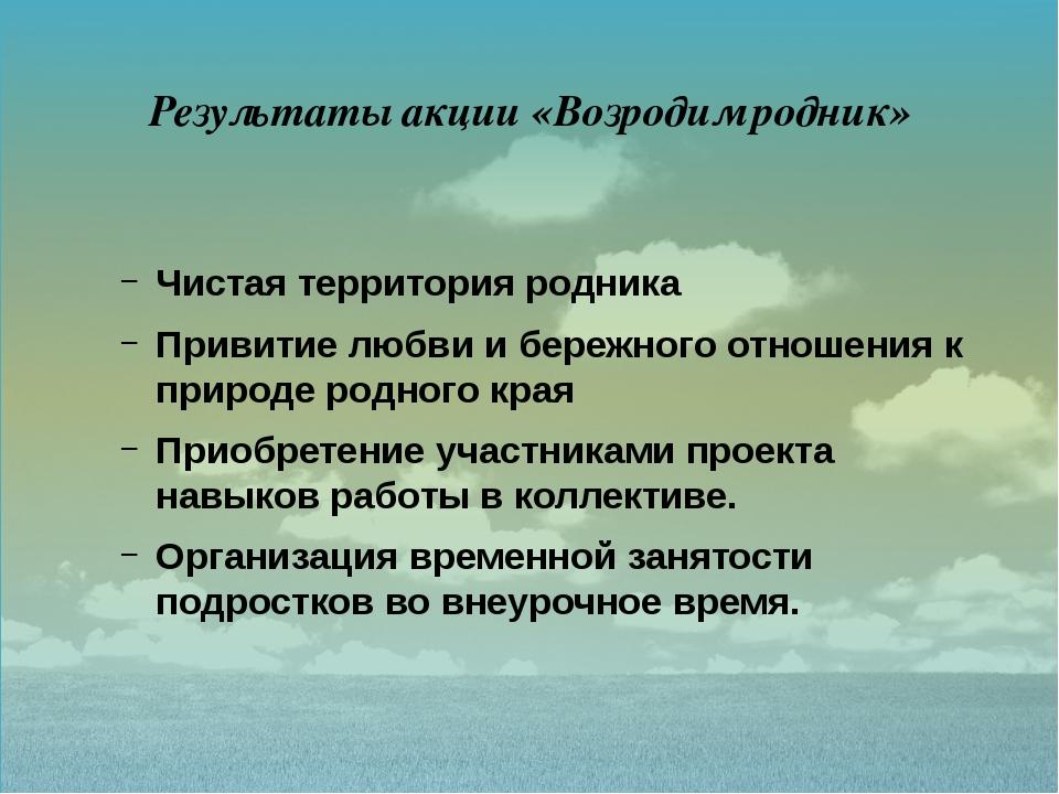 Результаты акции «Возродим родник»  Чистая территория родника Привитие любви...