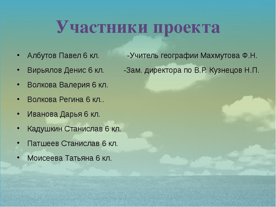Участники проекта Албутов Павел 6 кл. -Учитель географии Махмутова Ф.Н. Вирья...
