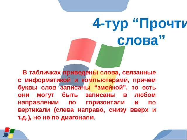 """4-тур """"Прочти слова"""" В табличках приведены слова, связанные с информатикой и..."""