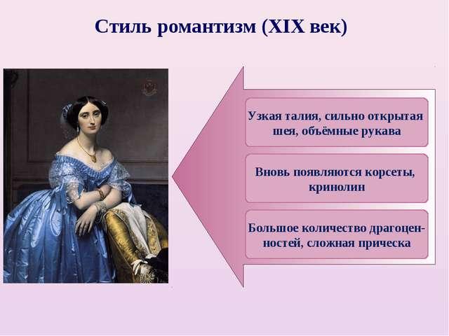 Стиль романтизм (XIX век) Большое количество драгоцен- ностей, сложная причес...