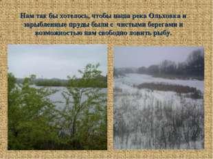 Нам так бы хотелось, чтобы наша река Ольховка и зарыбленные пруды были с чист