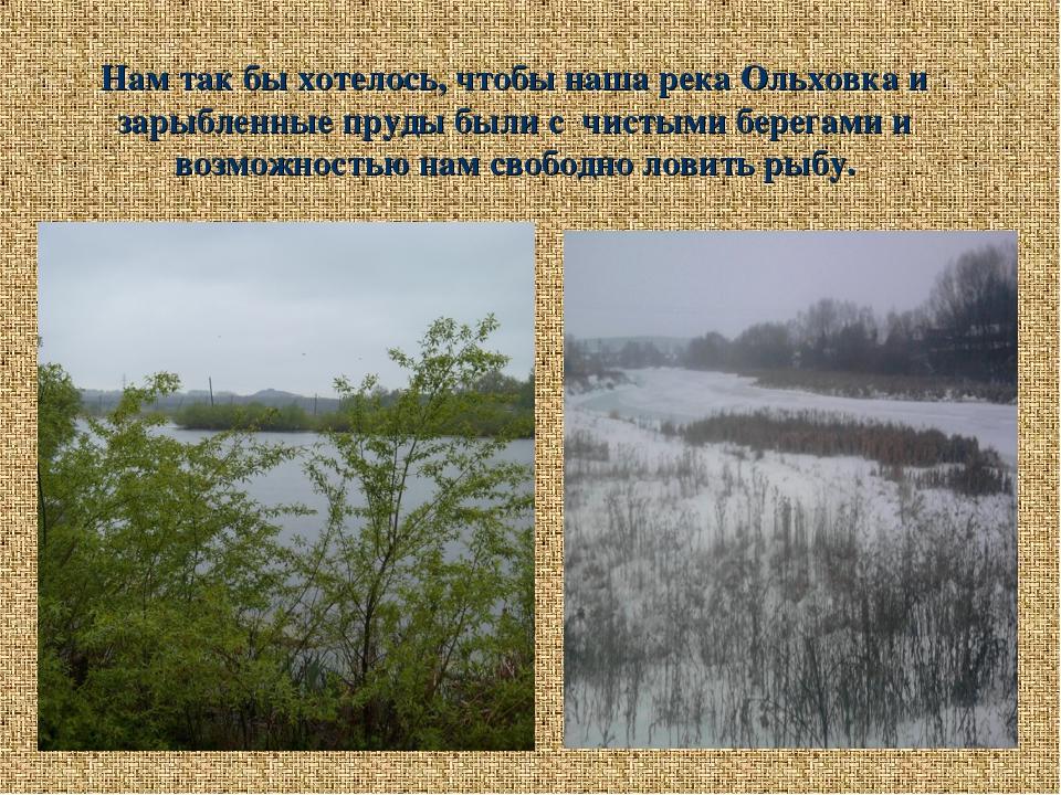Нам так бы хотелось, чтобы наша река Ольховка и зарыбленные пруды были с чист...