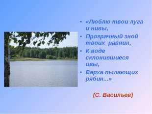 «Люблю твои луга и нивы, Прозрачный зной твоих равнин, К воде склонившиеся ив