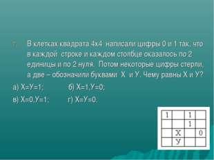 В клетках квадрата 4х4 написали цифры 0 и 1 так, что в каждой строке и каждом