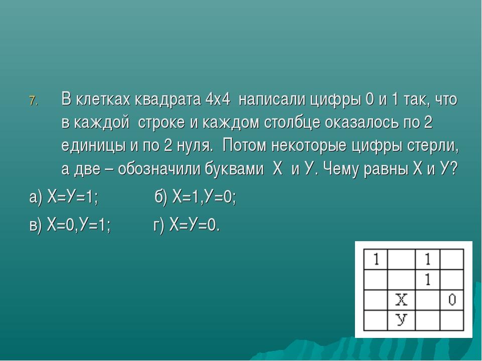В клетках квадрата 4х4 написали цифры 0 и 1 так, что в каждой строке и каждом...