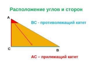 Расположение углов и сторон А С В ВС - противолежащий катет АС – прилежащий к
