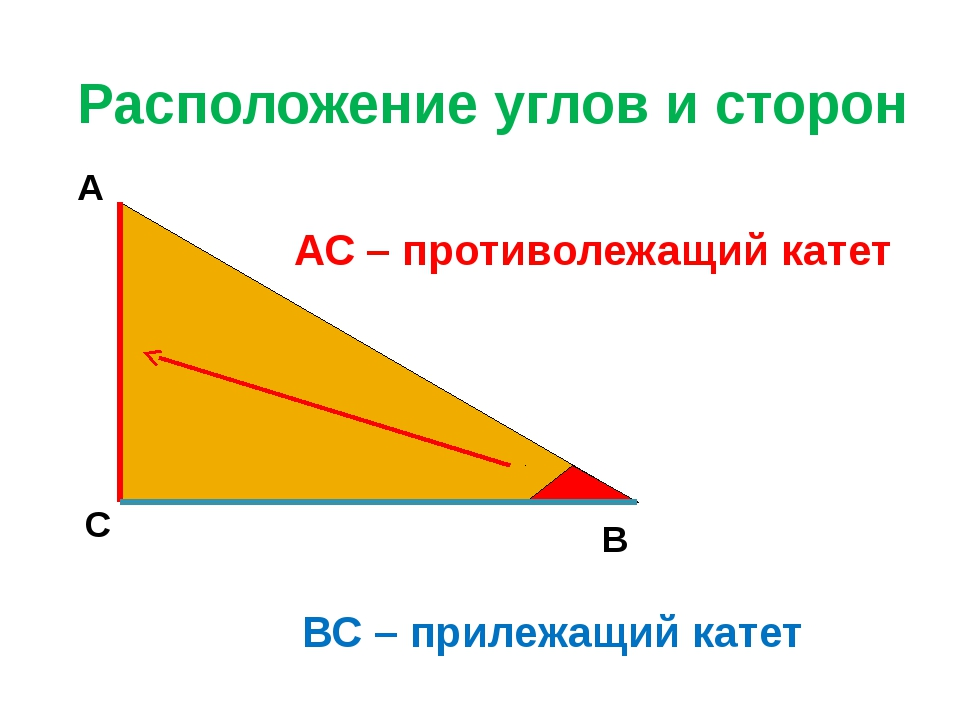Расположение углов и сторон А С В АС – противолежащий катет ВС – прилежащий к...