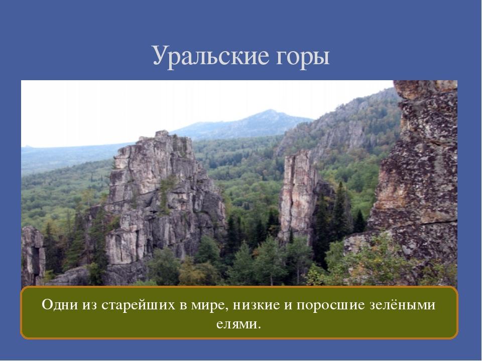 Уральские горы Одни из старейших в мире, низкие и поросшие зелёными елями.