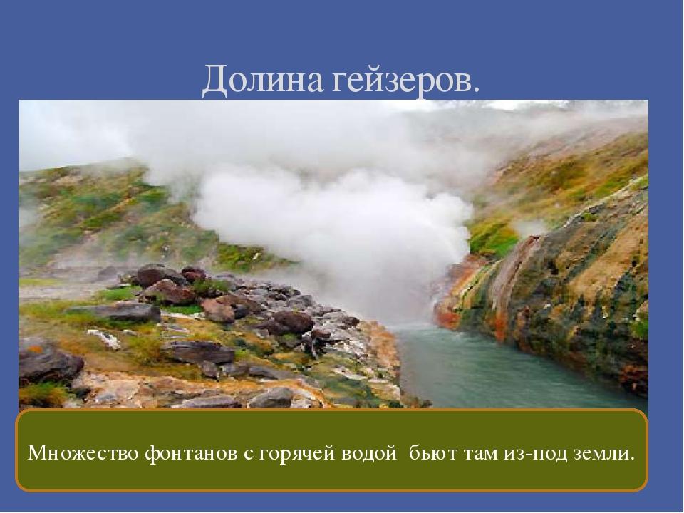 Долина гейзеров. Множество фонтанов с горячей водой бьют там из-под земли.