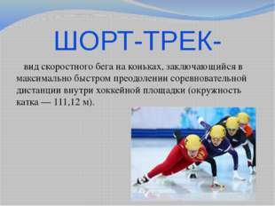 ШОРТ-ТРЕК- вид скоростного бега на коньках, заключающийся в максимально быстр