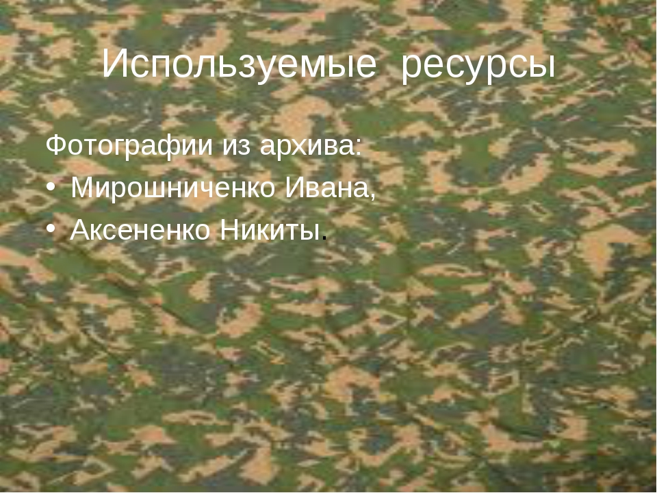 Используемые ресурсы Фотографии из архива: Мирошниченко Ивана, Аксененко Ники...
