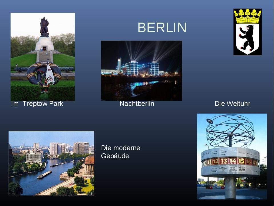 BERLIN Im Treptow Park Nachtberlin Die Weltuhr Die moderne Gebäude