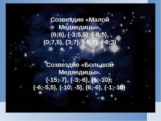 Созвездие «Малой Медведицы», (6;6), (-3;5,5), (-8;5), (0;7,5), (3;7), (-5;7),...