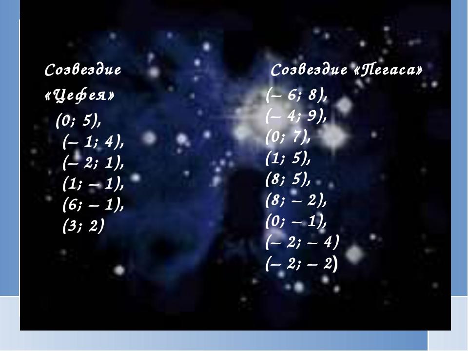 Созвездие «Цефея» (0; 5), (–1; 4), (–2; 1), (1; –1), (6; –1), (3; 2) Со...