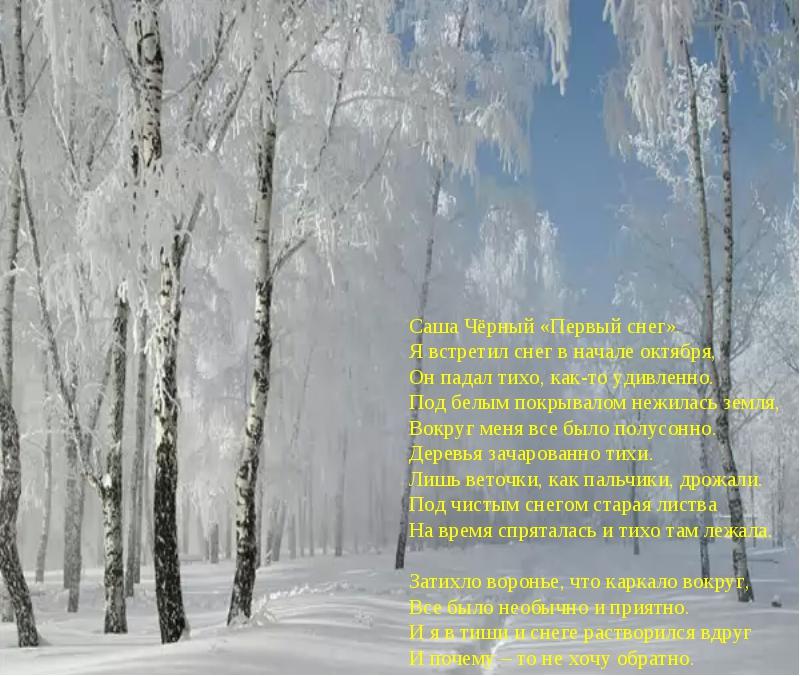 Саша Чёрный «Первый снег». Я встретил снег в начале октября, Он падал тихо,...