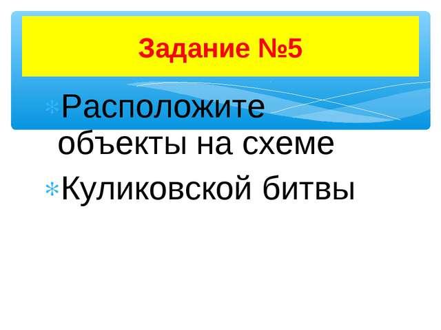 Расположите объекты на схеме Куликовской битвы Задание №5