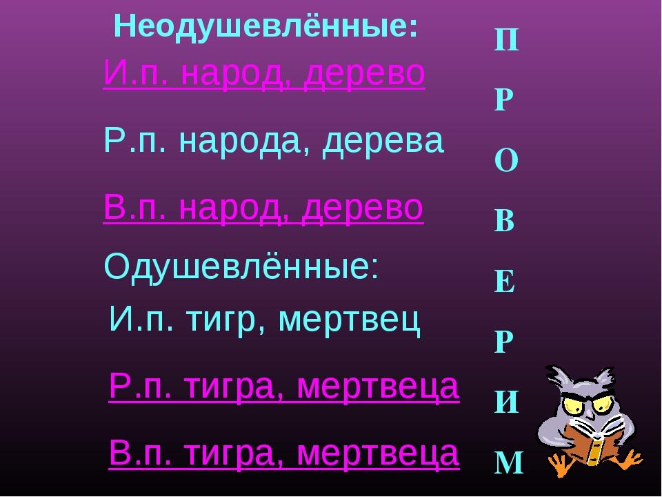 И.п. народ, дерево Р.п. народа, дерева В.п. народ, дерево Неодушевлённые: Од...