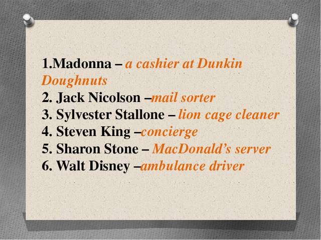1.Madonna – a cashier at Dunkin Doughnuts 2. Jack Nicolson –mail sorter 3. Sy...