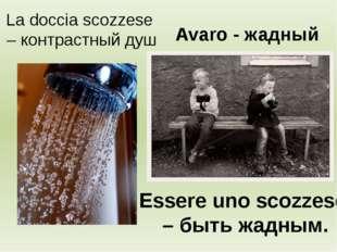 La doccia scozzese – контрастный душ Essere uno scozzese – быть жадным. Avaro