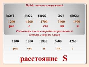 расстояние 1200 рас 4260 е 1900 я 3600 ни 1700 сто Найди значения выражений Р