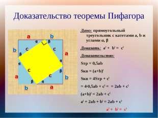 Доказательство теоремы Пифагора Дано: прямоугольный треугольник с катетами a,