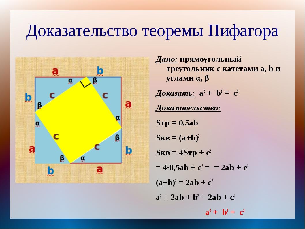 Доказательство теоремы Пифагора Дано: прямоугольный треугольник с катетами a,...
