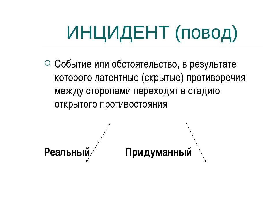 ИНЦИДЕНТ (повод) Событие или обстоятельство, в результате которого латентные...