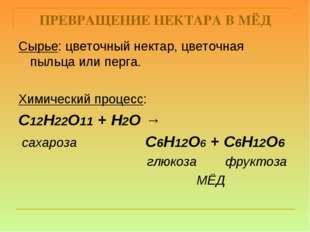 ПРЕВРАЩЕНИЕ НЕКТАРА В МЁД Сырье: цветочный нектар, цветочная пыльца или перга