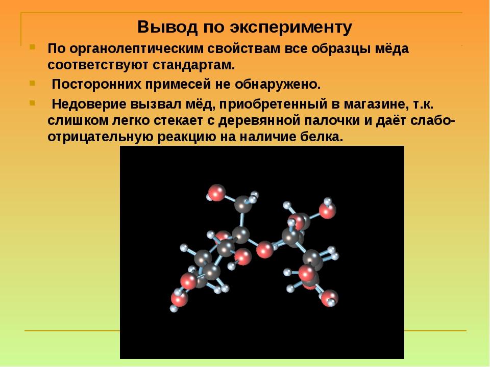 Вывод по эксперименту По органолептическим свойствам все образцы мёда соответ...