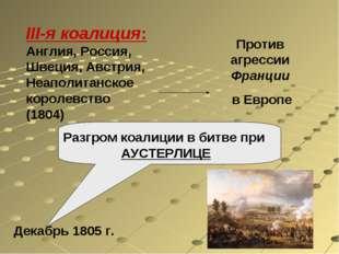 III-я коалиция: Англия, Россия, Швеция, Австрия, Неаполитанское королевство (