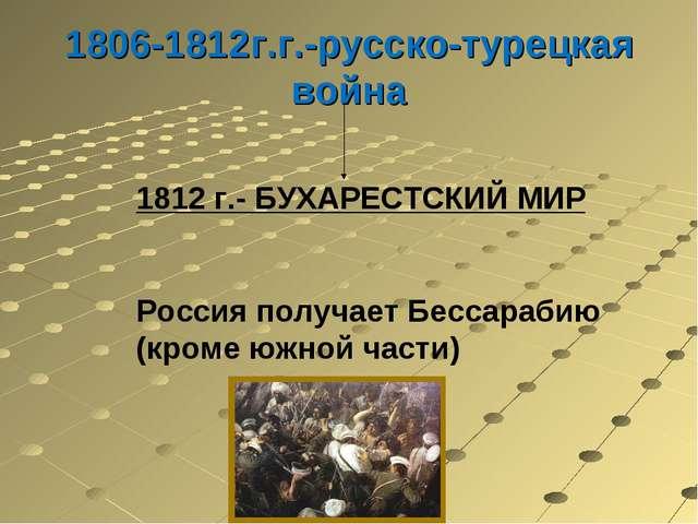 1806-1812г.г.-русско-турецкая война 1812 г.- БУХАРЕСТСКИЙ МИР Россия получает...