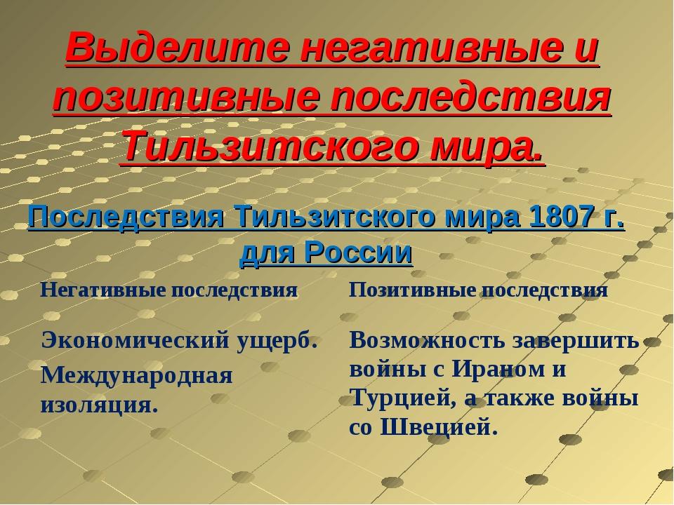 Последствия Тильзитского мира 1807 г. для России Выделите негативные и позити...