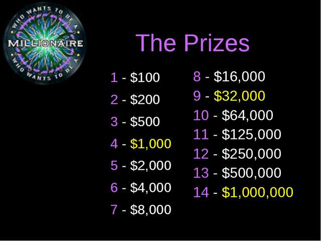 The Prizes 1 - $100 2 - $200 3 - $500 4 - $1,000 5 - $2,000 6 - $4,000 7 - $8...