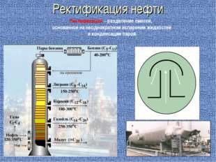 Ректификация нефти Ректификация – разделение смесей, основанное на неоднократ