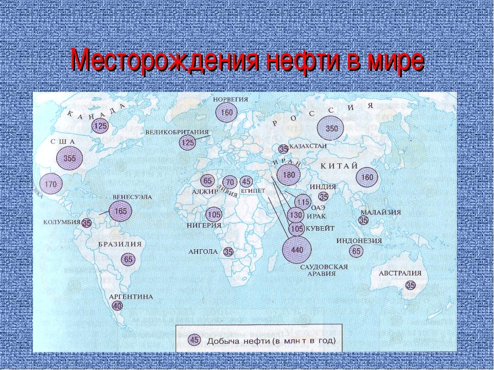 Месторождения нефти в мире