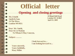 Official letter Mr.J.Smith Smith & Sons 14 The Mews London W8 9EG 18 Bland fi