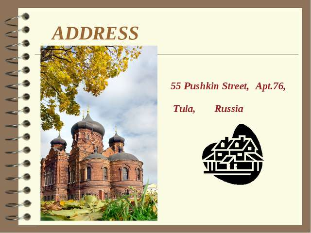 ADDRESS Apt.76, 55 Pushkin Street, Tula, Russia