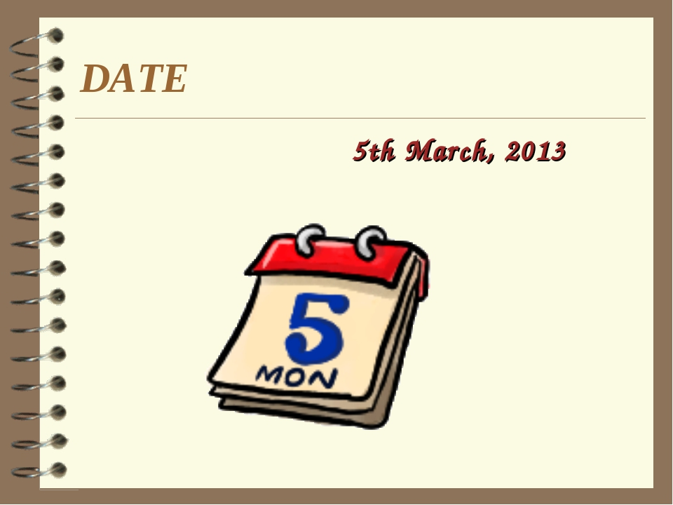 DATE 5th March, 2013