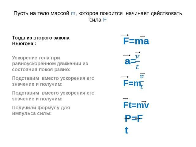 Пусть на тело массой m, которое покоится начинает действовать сила F Тогда из...