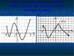 Чтение свойств функции по графику: найдите область определения и область знач