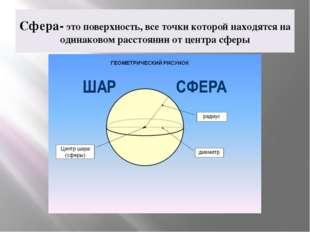 Сфера- это поверхность, все точки которой находятся на одинаковом расстоянии