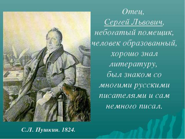Отец, Сергей Львович, небогатый помещик, человек образованный, хорошо знал ли...