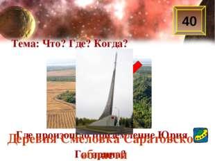 40 Тема: Что? Где? Когда? Где произошло приземление Юрия Гагарина? Деревня См