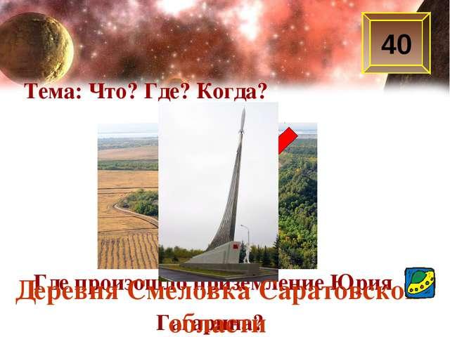 40 Тема: Что? Где? Когда? Где произошло приземление Юрия Гагарина? Деревня См...