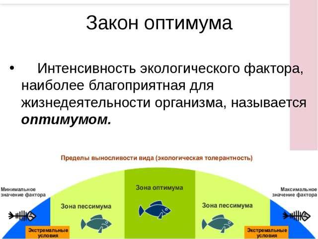 Интенсивность экологического фактора, наиболее благоприятная для жизнедеятел...